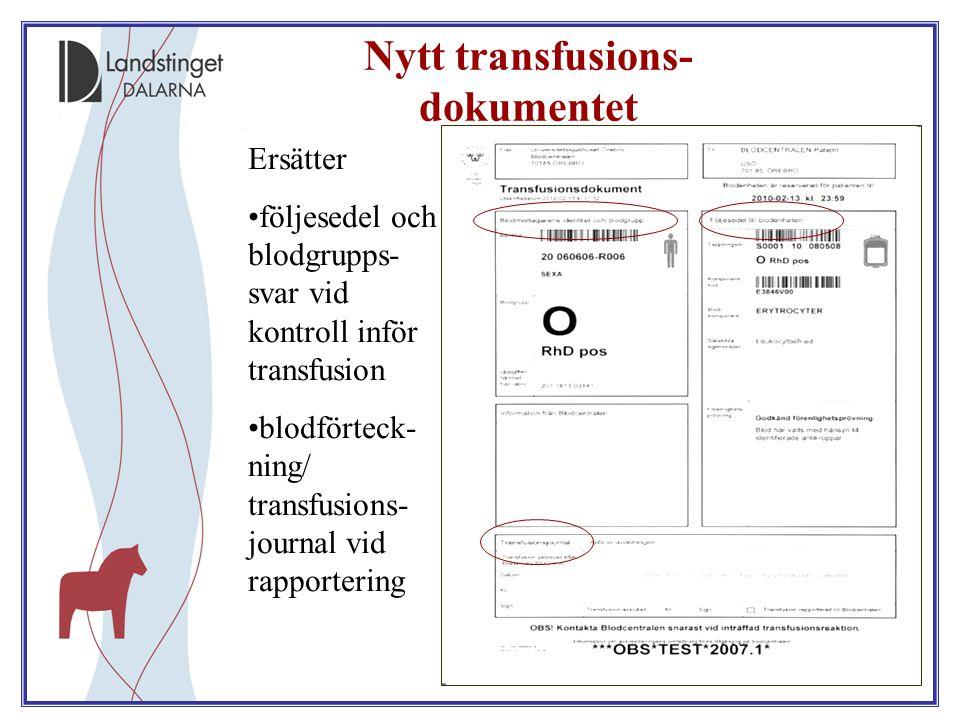 20 Nytt transfusions- dokumentet Ersätter följesedel och blodgrupps- svar vid kontroll inför transfusion blodförteck- ning/ transfusions- journal vid