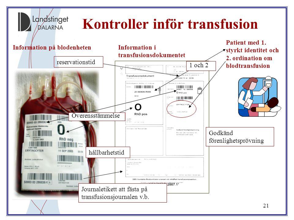 21 Kontroller inför transfusion Information i transfusionsdokumentet Information på blodenheten Patient med 1. styrkt identitet och 2. ordination om b