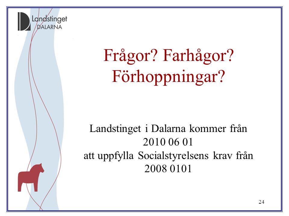 24 Frågor? Farhågor? Förhoppningar? Landstinget i Dalarna kommer från 2010 06 01 att uppfylla Socialstyrelsens krav från 2008 0101