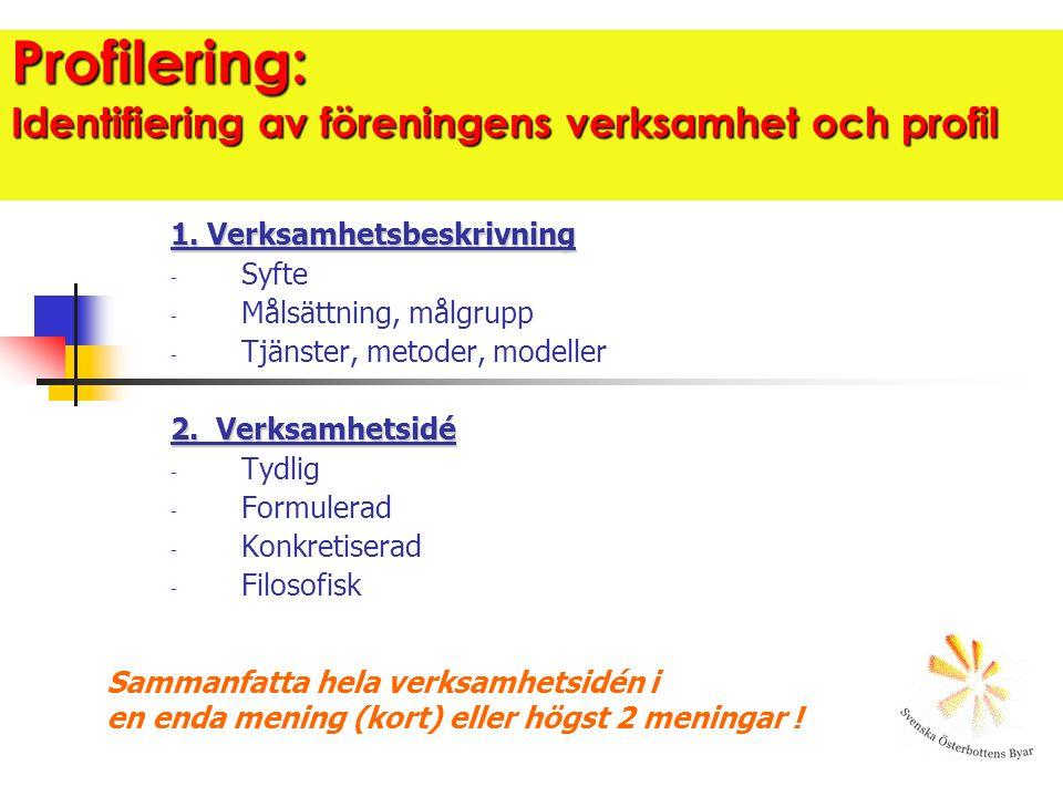 Profilering: Identifiering av föreningens verksamhet och profil 1. Verksamhetsbeskrivning - Syfte - Målsättning, målgrupp - Tjänster, metoder, modelle