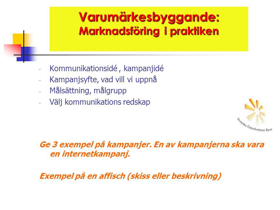 Varumärkesbyggande: Marknadsföring i praktiken - Kommunikationsidé, kampanjidé - Kampanjsyfte, vad vill vi uppnå - Målsättning, målgrupp - Välj kommunikations redskap Ge 3 exempel på kampanjer.