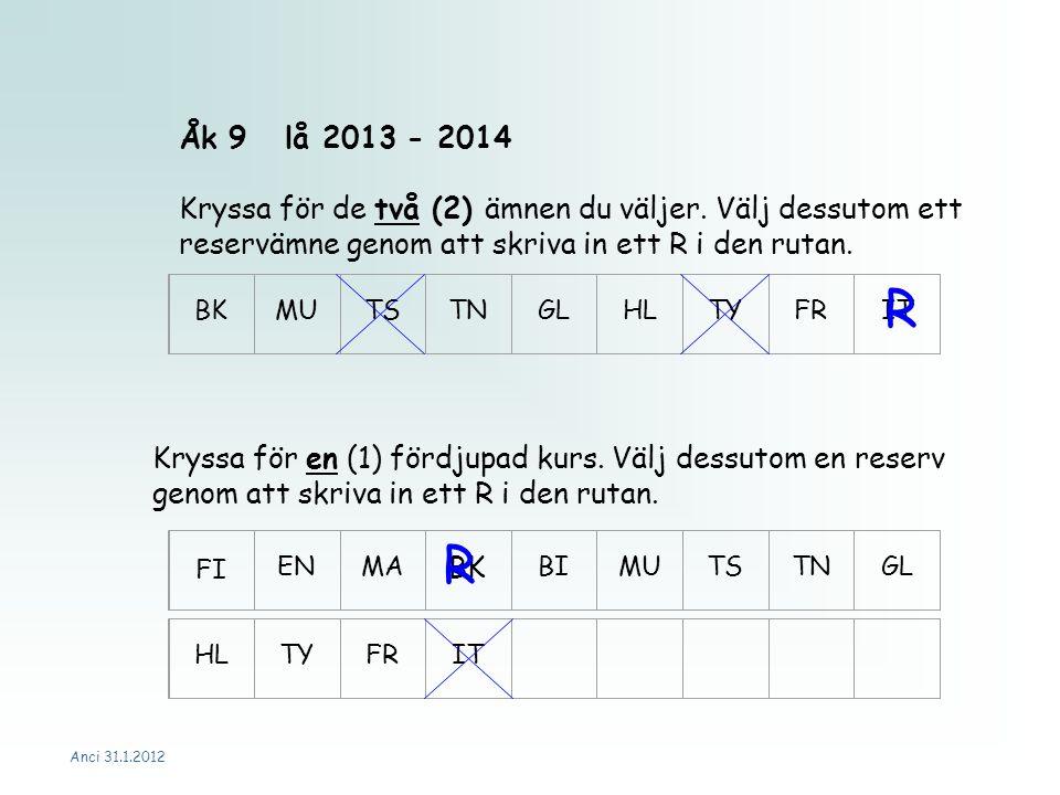 Anci 31.1.2012 Åk 9lå 2013 - 2014 Kryssa för de två (2) ämnen du väljer.