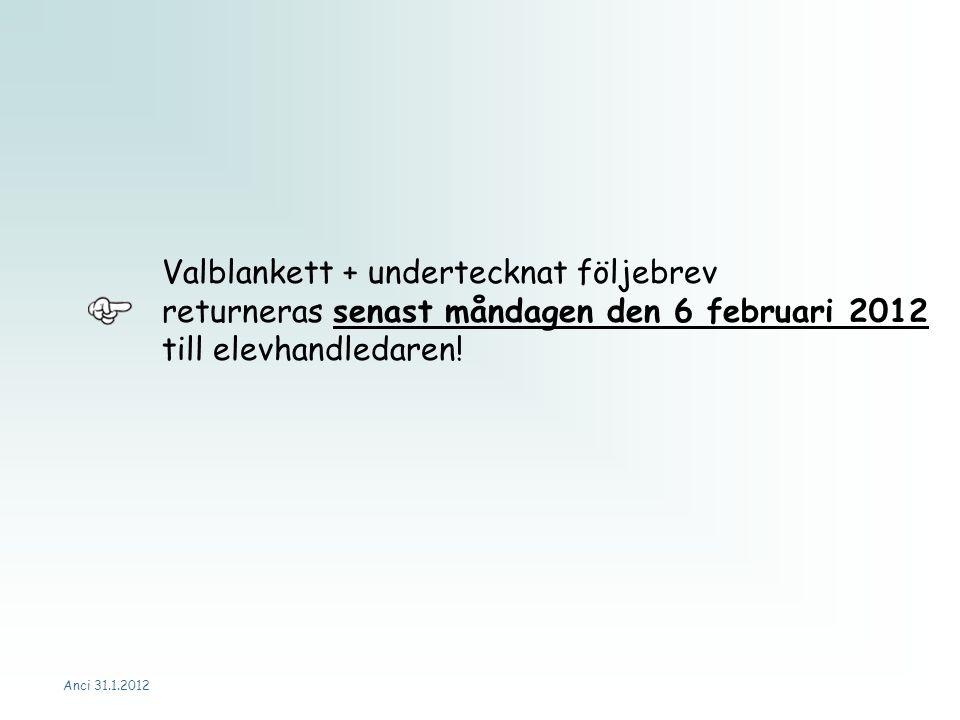 Anci 31.1.2012 Valblankett + undertecknat följebrev returneras senast måndagen den 6 februari 2012 till elevhandledaren!