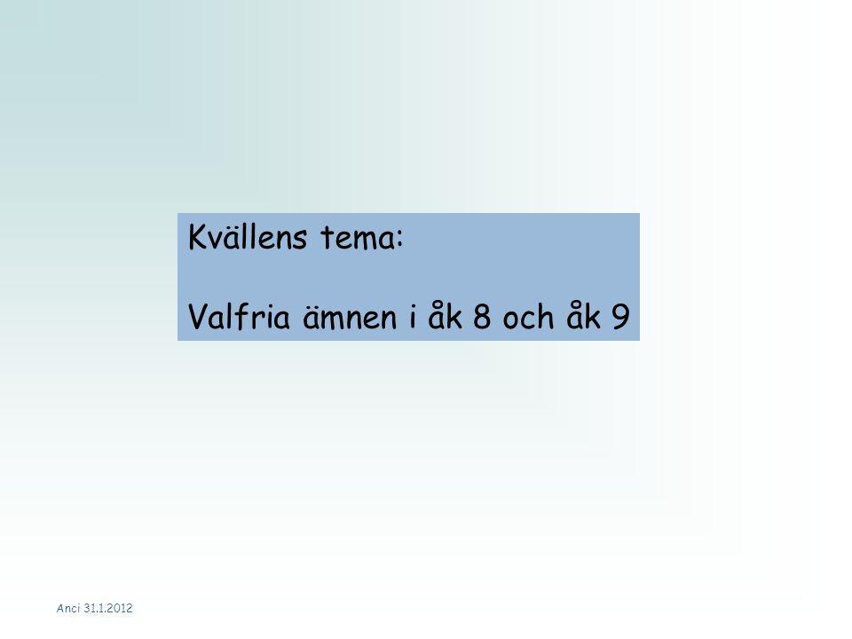 Kvällens tema: Valfria ämnen i åk 8 och åk 9