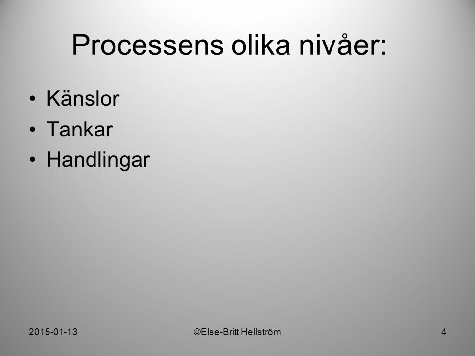 2015-01-13©Else-Britt Hellström4 Processens olika nivåer: Känslor Tankar Handlingar
