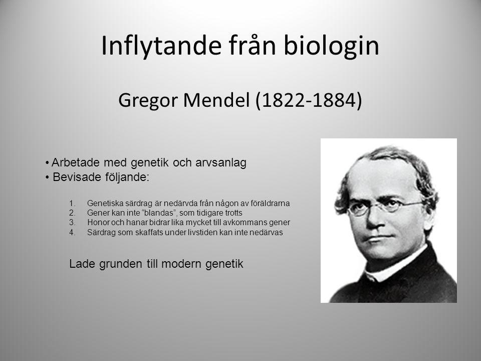 Inflytande från biologin Gregor Mendel (1822-1884) Arbetade med genetik och arvsanlag Bevisade följande: 1. Genetiska särdrag är nedärvda från någon a