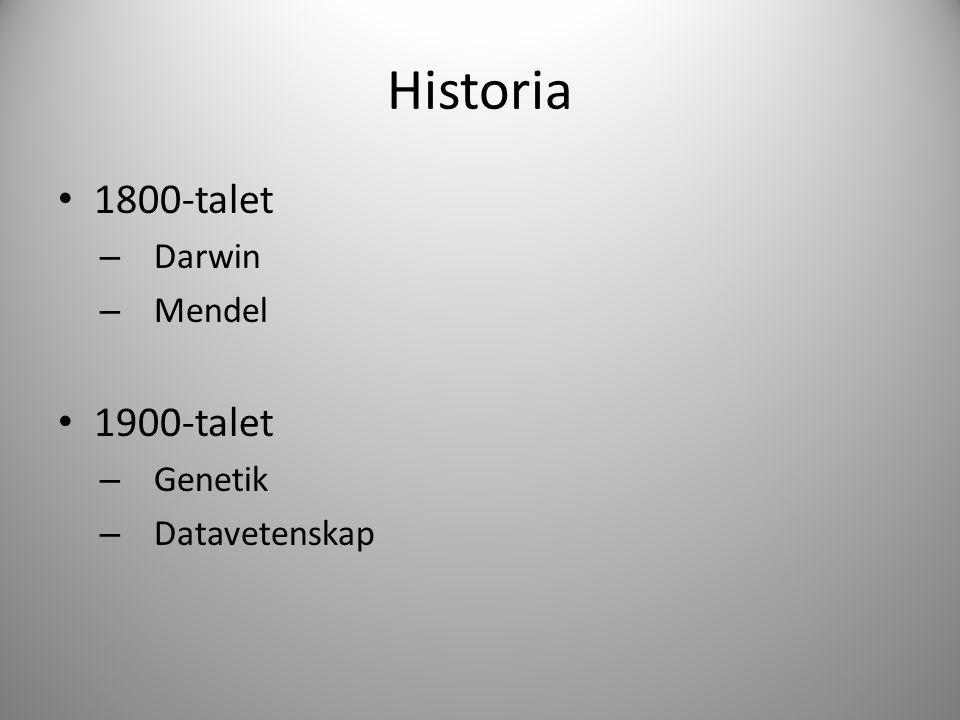 Historia 1800-talet – Darwin – Mendel 1900-talet – Genetik – Datavetenskap
