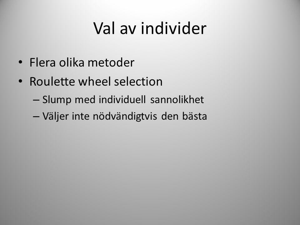 Val av individer Flera olika metoder Roulette wheel selection – Slump med individuell sannolikhet – Väljer inte nödvändigtvis den bästa