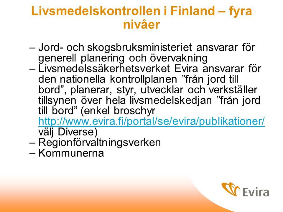 Livsmedelskontrollen i Finland – fyra nivåer –Jord- och skogsbruksministeriet ansvarar för generell planering och övervakning –Livsmedelssäkerhetsverket Evira ansvarar för den nationella kontrollplanen från jord till bord , planerar, styr, utvecklar och verkställer tillsynen över hela livsmedelskedjan från jord till bord (enkel broschyr http://www.evira.fi/portal/se/evira/publikationer/ välj Diverse) http://www.evira.fi/portal/se/evira/publikationer/ –Regionförvaltningsverken –Kommunerna