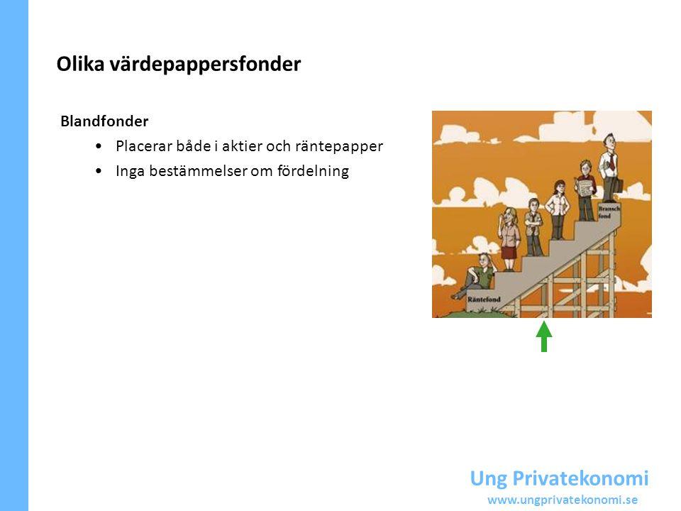 Ung Privatekonomi www.ungprivatekonomi.se Blandfonder Placerar både i aktier och räntepapper Inga bestämmelser om fördelning Olika värdepappersfonder