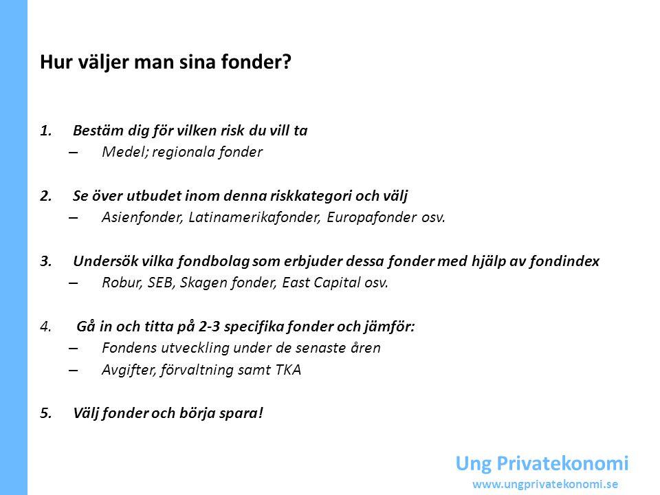 Ung Privatekonomi www.ungprivatekonomi.se Hur väljer man sina fonder? 1.Bestäm dig för vilken risk du vill ta – Medel; regionala fonder 2.Se över utbu