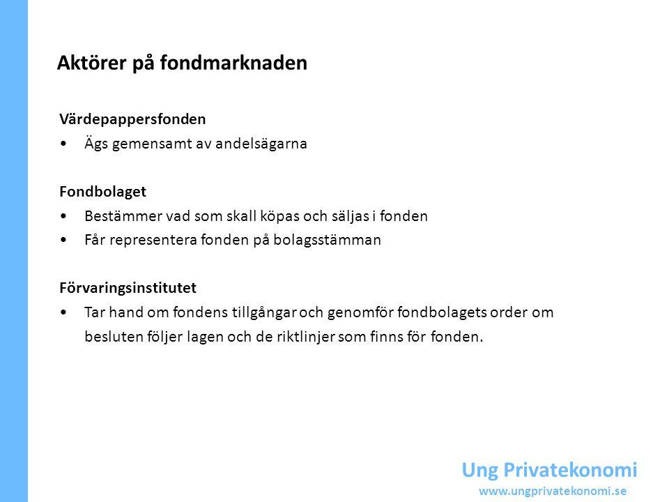 Ung Privatekonomi www.ungprivatekonomi.se Värdepappersfonden Ägs gemensamt av andelsägarna Fondbolaget Bestämmer vad som skall köpas och säljas i fond