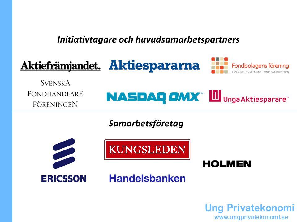 Ung Privatekonomi www.ungprivatekonomi.se Initiativtagare och huvudsamarbetspartners Samarbetsföretag