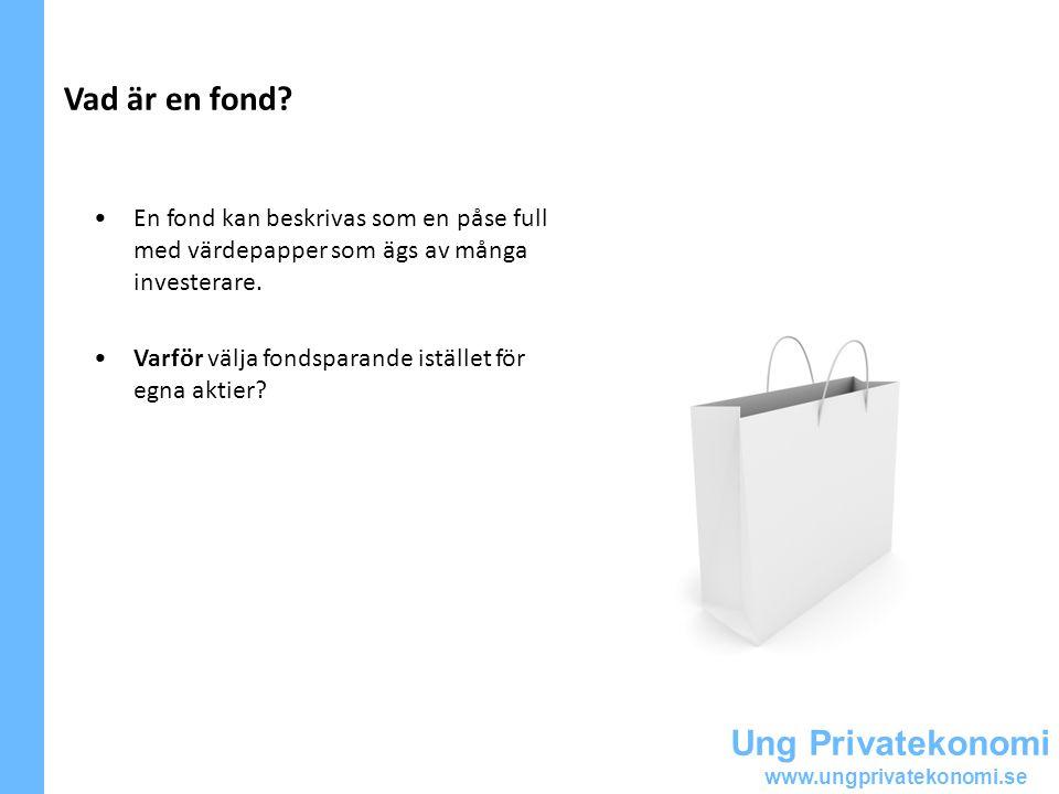 Ung Privatekonomi www.ungprivatekonomi.se Fördelar med fondsparande + Enkelt + Riskspridning + Professionell förvaltning + Valmöjlighet + Månadssparande + Utländska marknader Men tänk på att -Fonder kostar -Ej bolagsstämma -Ej påverka fondinnehållet -Viktigt med kunskap
