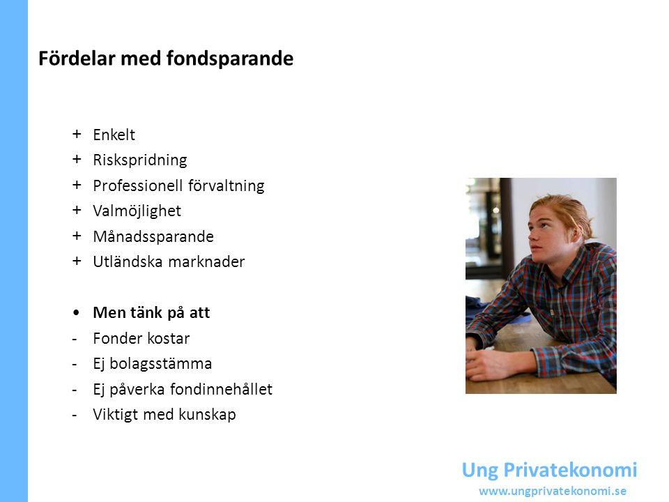 Ung Privatekonomi www.ungprivatekonomi.se Fördelar med fondsparande + Enkelt + Riskspridning + Professionell förvaltning + Valmöjlighet + Månadssparan