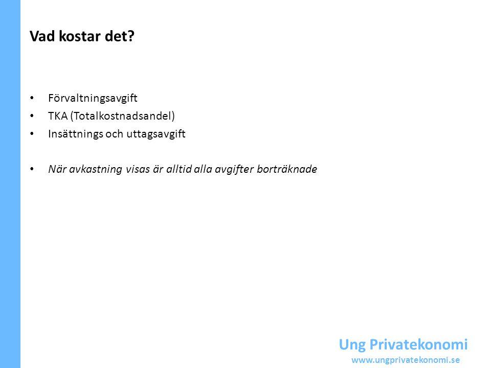 Ung Privatekonomi www.ungprivatekonomi.se Förvaltningsavgift TKA (Totalkostnadsandel) Insättnings och uttagsavgift När avkastning visas är alltid alla