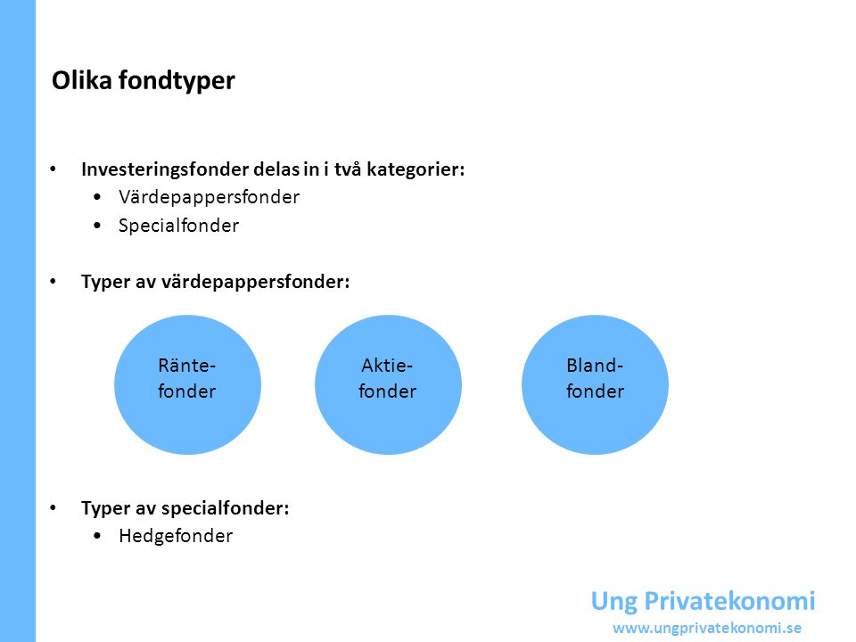 Ung Privatekonomi www.ungprivatekonomi.se Ränte- fonder Aktie- fonder Bland- fonder Investeringsfonder delas in i två kategorier: Värdepappersfonder S