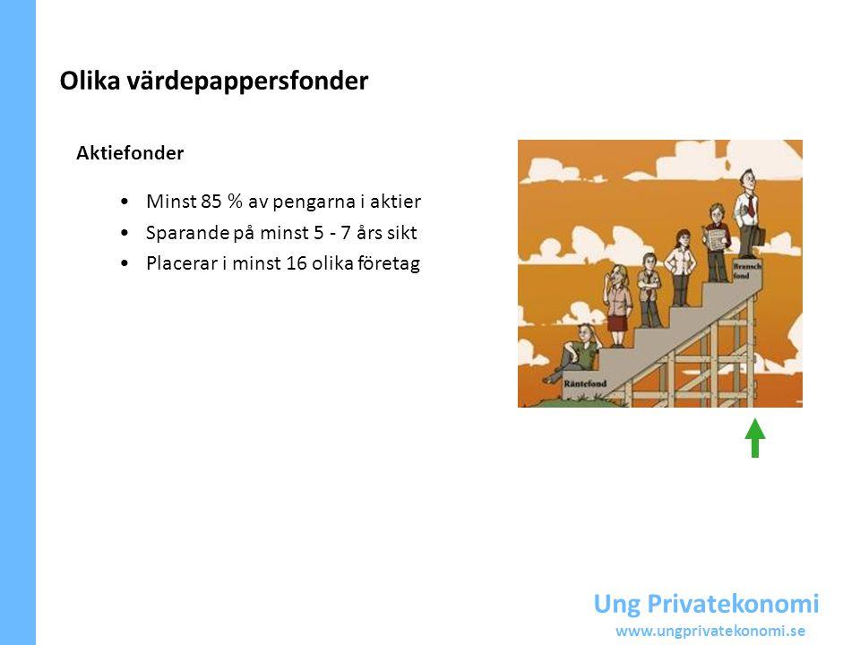 Ung Privatekonomi www.ungprivatekonomi.se Aktiefonder Minst 85 % av pengarna i aktier Sparande på minst 5 - 7 års sikt Placerar i minst 16 olika föret
