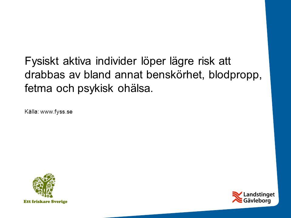 Fysiskt aktiva individer löper lägre risk att drabbas av bland annat benskörhet, blodpropp, fetma och psykisk ohälsa.