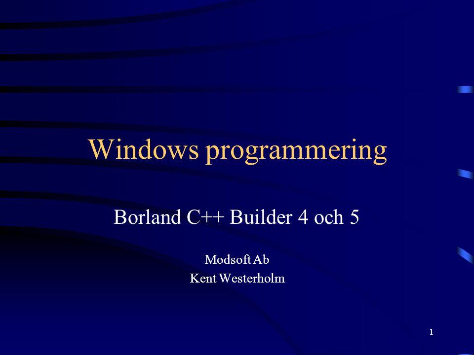 2 Kursens tidtabell 31.8.2000Introduktion till C++ Builder 7.9.2000 14.9.2000 Hantering av menyer och verklygsfält i Windows-proram 28.9.2000 5.10.2000 MDI (Multiple Document Interface) gränssnitt 12.10.2000 19.10.2000Programmering med Threads 26.10.2000 2.11.2000Databasprogrammering med C++ Builder 9.11.2000 16.11.2000 23.11.2000 30.11.2000 Användning av DLL (Dynamic Link Library) 7.12.2000 Att göra ett eget DLL-bibliotek