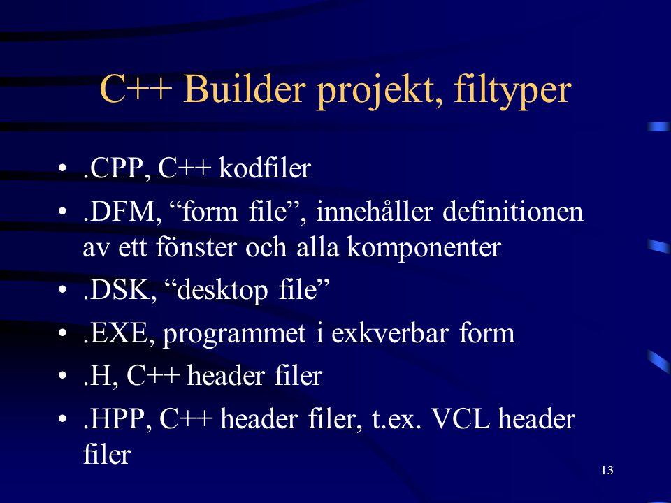 """13 C++ Builder projekt, filtyper.CPP, C++ kodfiler.DFM, """"form file"""", innehåller definitionen av ett fönster och alla komponenter.DSK, """"desktop file"""".E"""