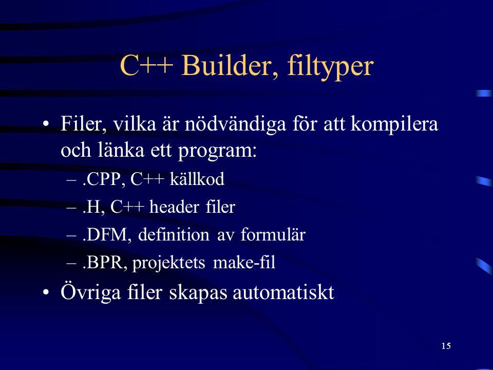 15 C++ Builder, filtyper Filer, vilka är nödvändiga för att kompilera och länka ett program: –.CPP, C++ källkod –.H, C++ header filer –.DFM, definitio