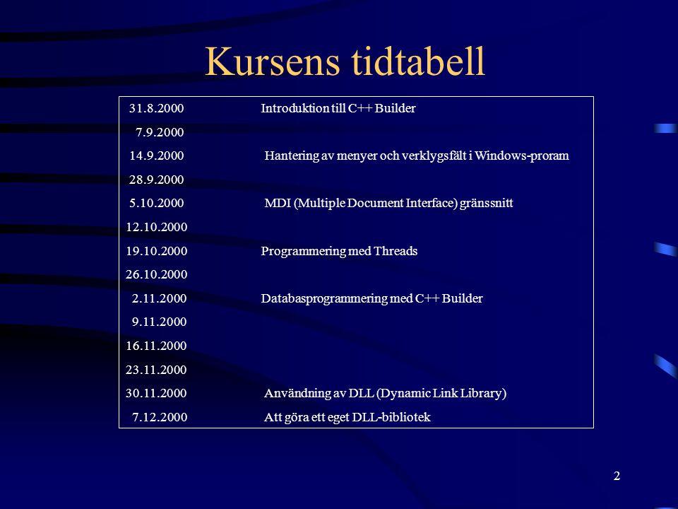 2 Kursens tidtabell 31.8.2000Introduktion till C++ Builder 7.9.2000 14.9.2000 Hantering av menyer och verklygsfält i Windows-proram 28.9.2000 5.10.200