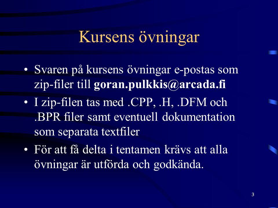 3 Kursens övningar Svaren på kursens övningar e-postas som zip-filer till goran.pulkkis@arcada.fi I zip-filen tas med.CPP,.H,.DFM och.BPR filer samt e