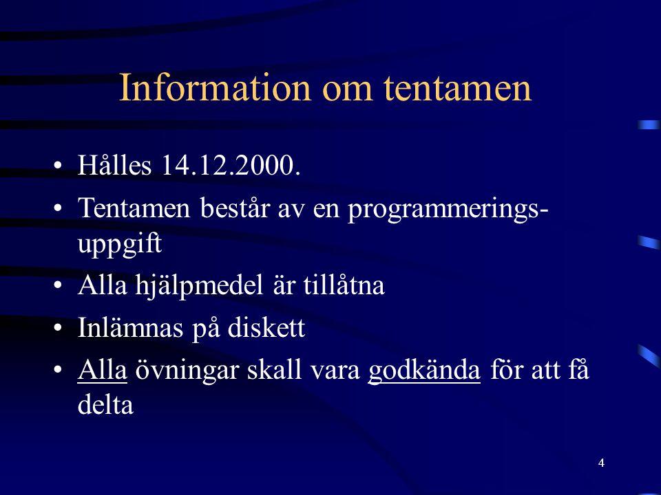 4 Information om tentamen Hålles 14.12.2000. Tentamen består av en programmerings- uppgift Alla hjälpmedel är tillåtna Inlämnas på diskett Alla övning