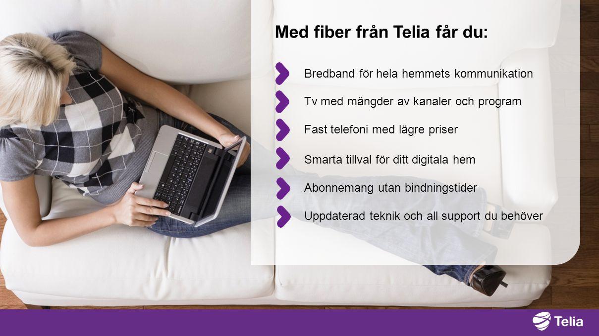 Bredband för hela hemmets kommunikation Tv med mängder av kanaler och program Fast telefoni med lägre priser Abonnemang utan bindningstider Med fiber