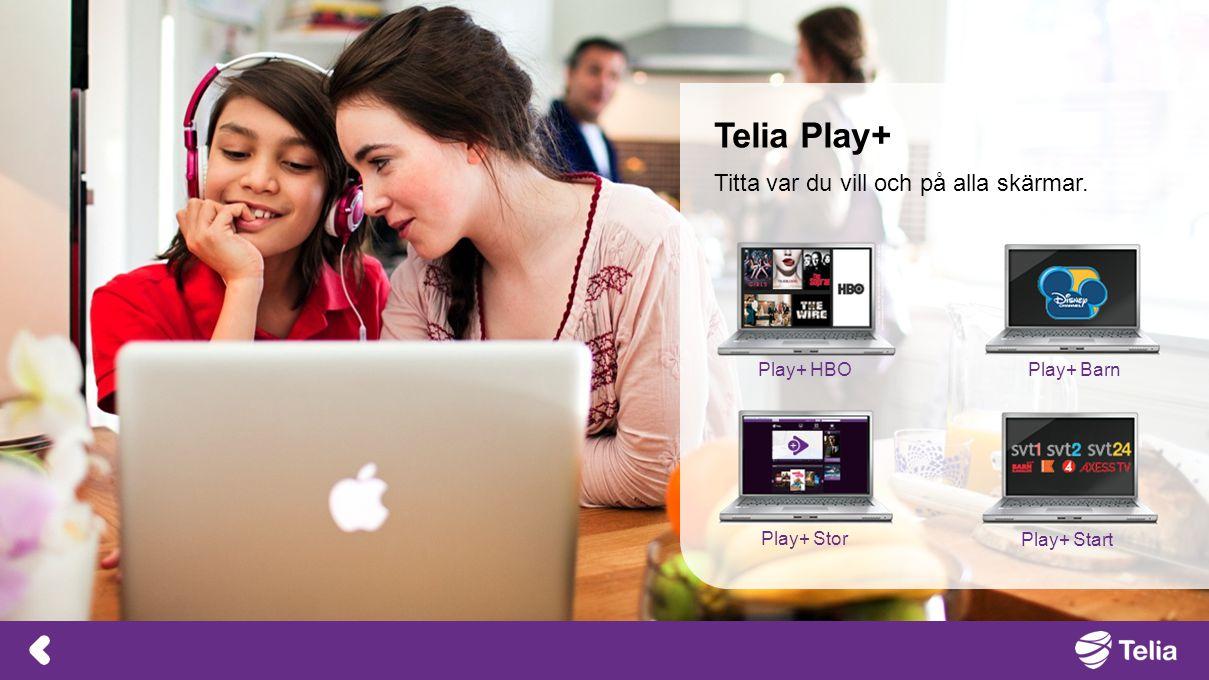 Telia Play+ Titta var du vill och på alla skärmar. Play+ Barn Play+ Stor Play+ HBO Play+ Start