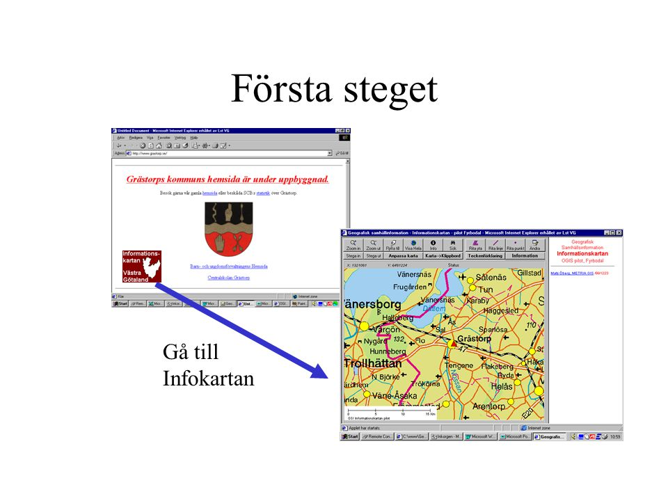 Första steget Gå till Infokartan