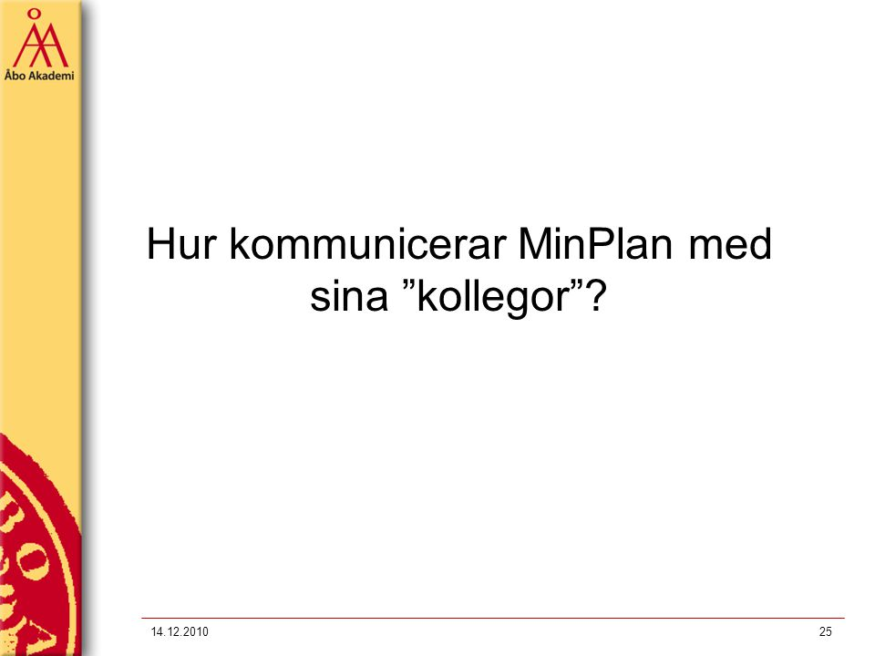 """Hur kommunicerar MinPlan med sina """"kollegor""""? 14.12.201025"""