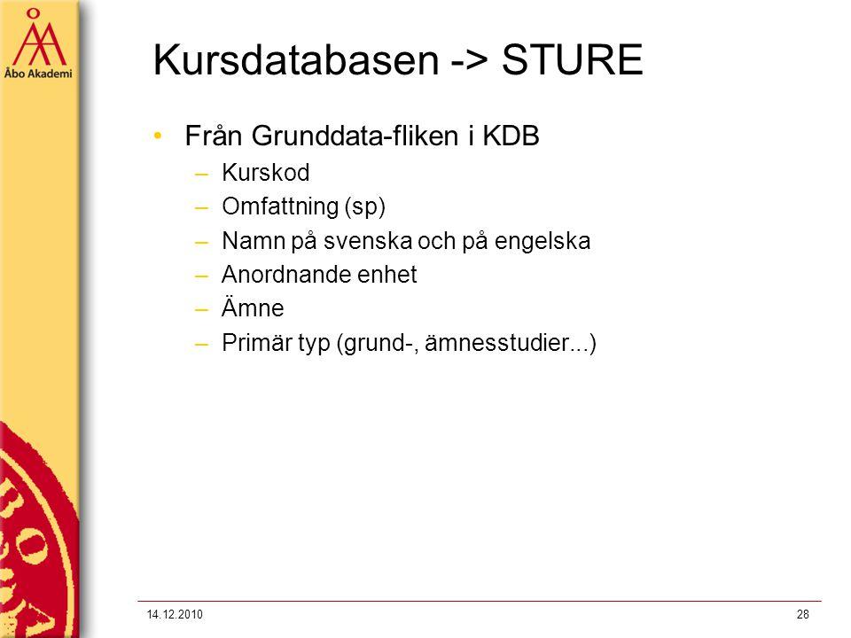 Kursdatabasen -> STURE Från Grunddata-fliken i KDB –Kurskod –Omfattning (sp) –Namn på svenska och på engelska –Anordnande enhet –Ämne –Primär typ (gru
