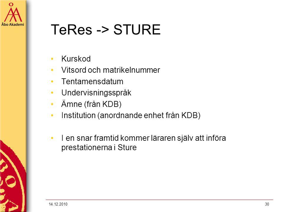 TeRes -> STURE Kurskod Vitsord och matrikelnummer Tentamensdatum Undervisningsspråk Ämne (från KDB) Institution (anordnande enhet från KDB) I en snar