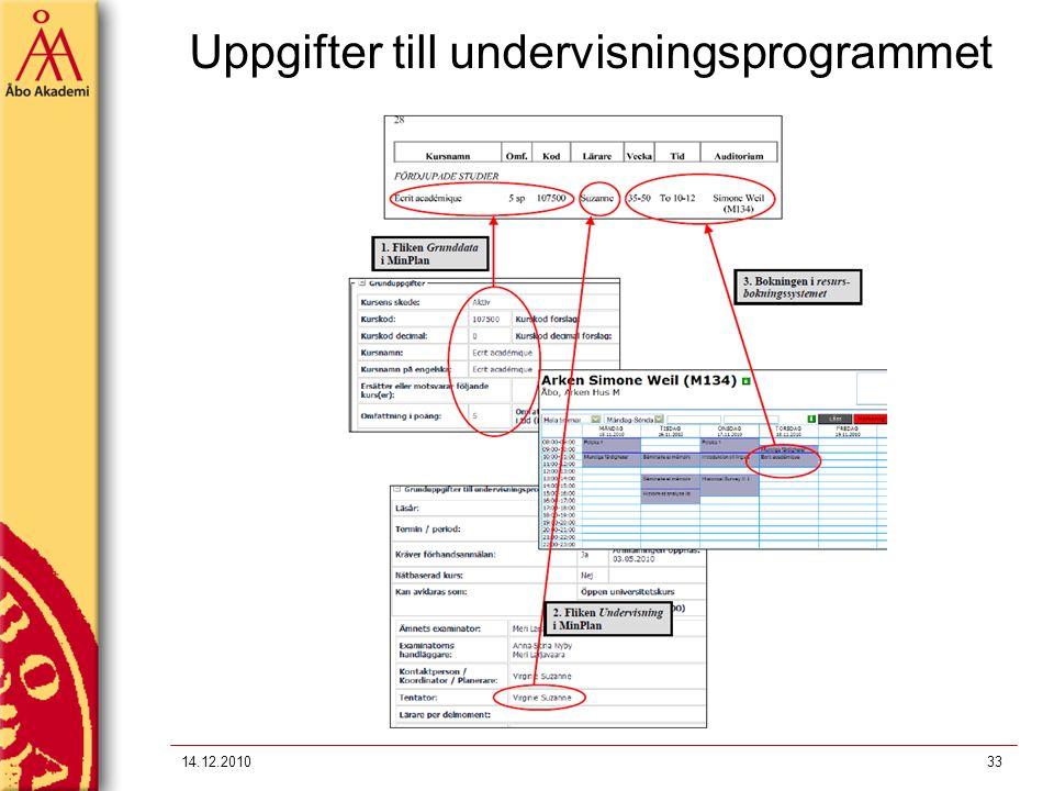 Uppgifter till undervisningsprogrammet 14.12.201033