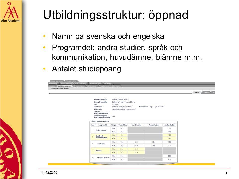 Utbildningsstruktur: öppnad Namn på svenska och engelska Programdel: andra studier, språk och kommunikation, huvudämne, biämne m.m. Antalet studiepoän