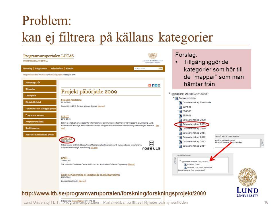 Problem: kan ej filtrera på källans kategorier Lund University | LTH | Programvaruportalen | Portalwebbar på lth.se | Nyheter och nyhetsflöden16 Försl