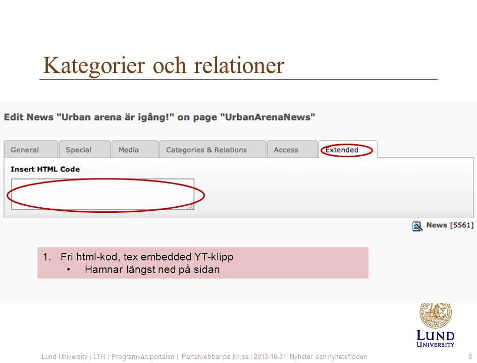 Kategorier och relationer Lund University | LTH | Programvaruportalen | Portalwebbar på lth.se | 2013-10-31 Nyheter och nyhetsflöden8 1.Fri html-kod,