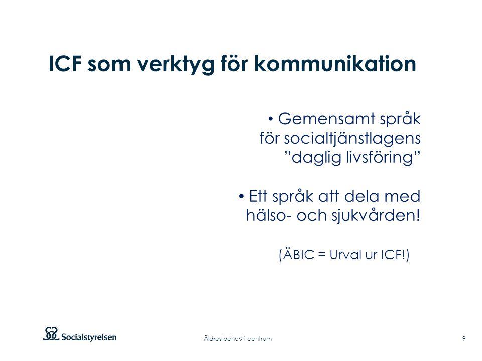 Att visa fotnot, datum, sidnummer Klicka på fliken Infoga och klicka på ikonen sidhuvud/sidfot Klistra in text: Klistra in texten, klicka på ikonen (Ctrl), välj Behåll endast text Rubrik: Century Gothic, bold 33pt ICF som verktyg för kommunikation 9Äldres behov i centrum Gemensamt språk för socialtjänstlagens daglig livsföring Ett språk att dela med hälso- och sjukvården.
