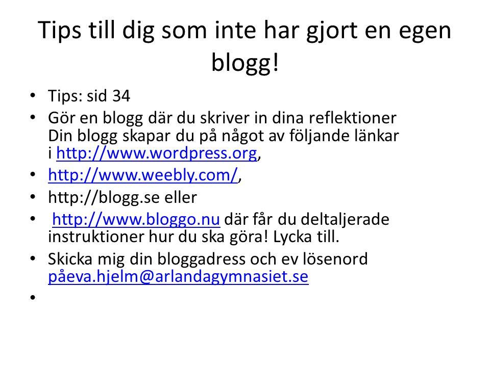 Tips till dig som inte har gjort en egen blogg.