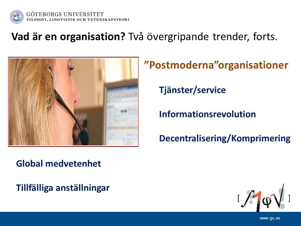 Postmoderna organisationer Tjänster/service Informationsrevolution Decentralisering/Komprimering Vad är en organisation.