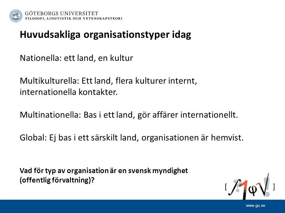 www.gu.se Huvudsakliga organisationstyper idag Nationella: ett land, en kultur Multikulturella: Ett land, flera kulturer internt, internationella kontakter.