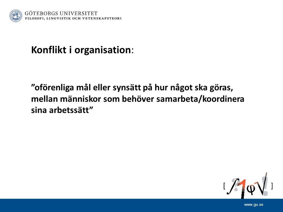 Konflikt i organisation: oförenliga mål eller synsätt på hur något ska göras, mellan människor som behöver samarbeta/koordinera sina arbetssätt