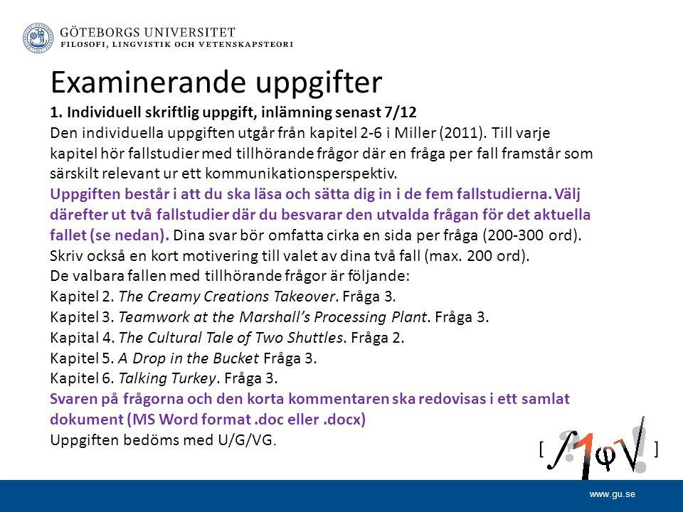 www.gu.se Examinerande uppgifter 1.