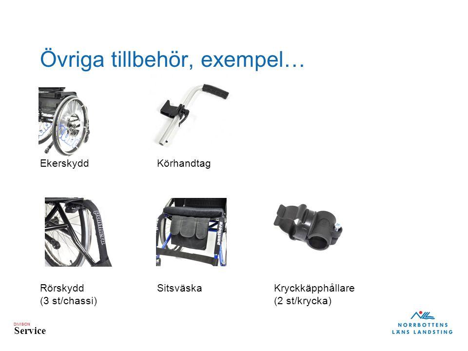 DIVISION Service Övriga tillbehör, exempel… EkerskyddKörhandtag RörskyddSitsväskaKryckkäpphållare (3 st/chassi)(2 st/krycka)