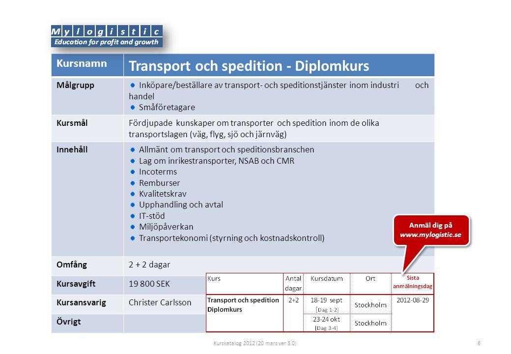 Kursnamn Transport och spedition - Diplomkurs Målgrupp Inköpare/beställare av transport- och speditionstjänster inom industri och handel Småföretagare KursmålFördjupade kunskaper om transporter och spedition inom de olika transportslagen (väg, flyg, sjö och järnväg) Innehåll Allmänt om transport och speditionsbranschen Lag om inrikestransporter, NSAB och CMR Incoterms Remburser Kvalitetskrav Upphandling och avtal IT-stöd Miljöpåverkan Transportekonomi (styrning och kostnadskontroll) Omfång2 + 2 dagar Kursavgift19 800 SEK KursansvarigChrister Carlsson Övrigt Kurskatalog 2012 (20 mars ver 3.0)6 Anmäl dig på www.mylogistic.se