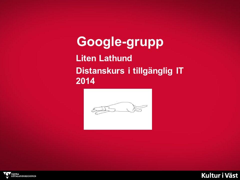 Google-gruppen I första hand en epostlista Kursledningen lägger till samtliga deltagare Inga inbjudningsmail – ingen registrering Inget Googlekonto behövs