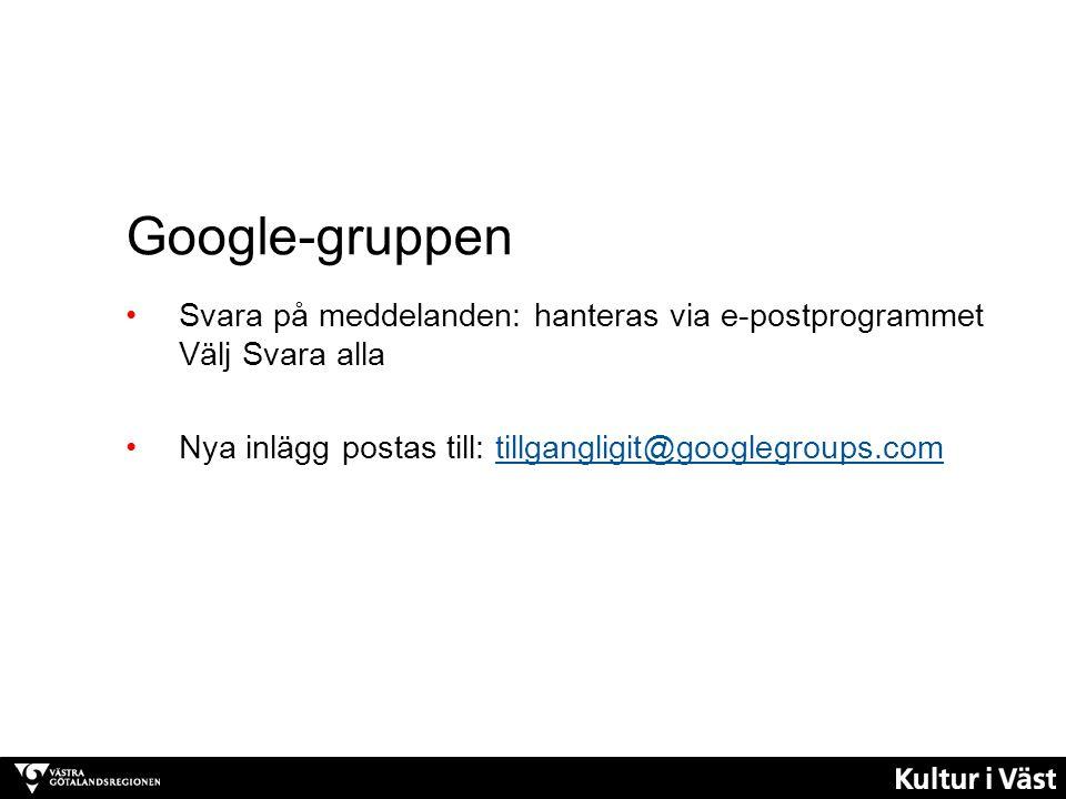 Google-gruppen: Används för: Komma igång-uppgiften: Intervjun med en deltagare postas här Frågor till hela gruppen och diskussioner