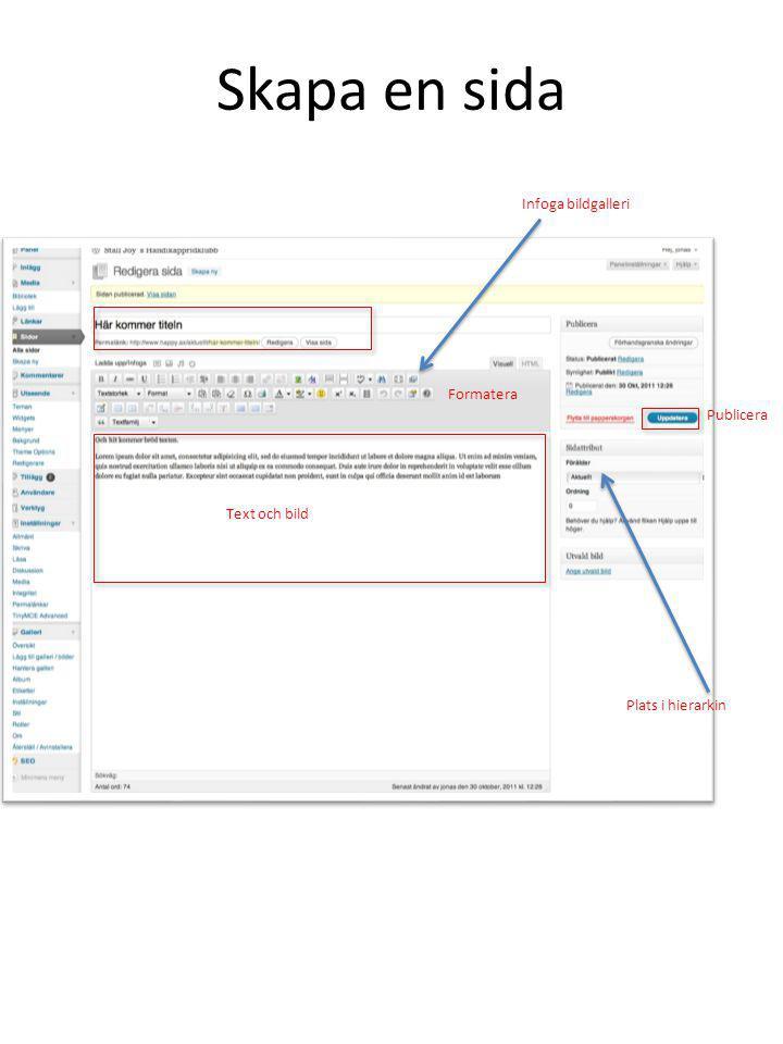 Skapa en sida Publicera Plats i hierarkin Formatera Text och bild Infoga bildgalleri